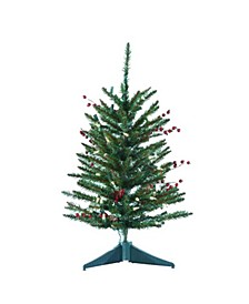 24-Inch Pre-Lit Red Berries and Pinecone Tree