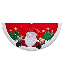 48-Inch Red and White Applique Santa Tree Skirt