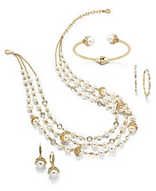Gold-Tone Crystal & Imitation Pearl Jewelry Separates