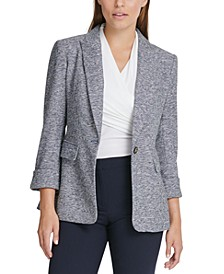 Petite Knit One-Button Blazer
