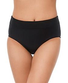Solid Zip-Pocket Bikini Bottoms
