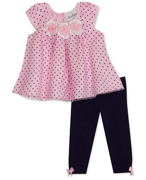 Rare Editions Baby Girls 2-Pc. Flocked Dot Swing Top & Leggings Set