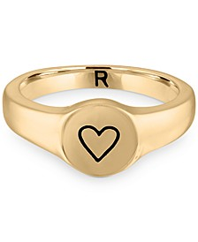 Gold-Tone Heart Signet Band