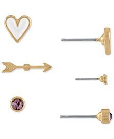 Gold-Tone 3-Pc. Set Stone, Arrow & Heart Stud Earrings