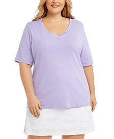 Plus Size Cotton V-Neck Top, Created for Macy's