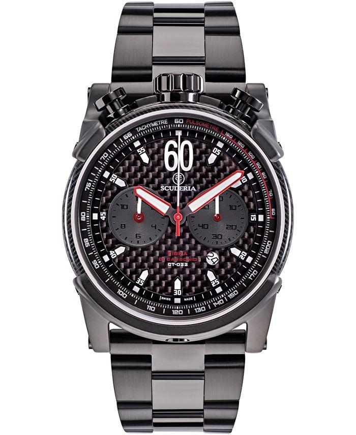 CT Scuderia - Men's Swiss Chronograph Carbon Fiber Black Stainless Steel Bracelet Watch 44mm