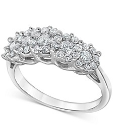 Lab-Created Diamond Horizontal Cluster Statement Ring (1 ct. t.w.) in Sterling Silver