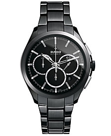 Rado Watch, Men's Swiss Automatic Chronograph Hyperchrome Black High-Tech Ceramic Bracelet 45mm R32275152