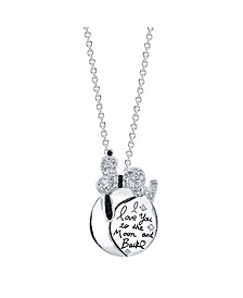 "Snoopy  ""I Love You To The Moon"" Fine Plated Silver Crystal Pendant Necklace, 16"" + 2"" Extender for Unwritten"