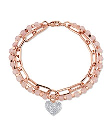 Genuine Rose Quartz Fine Plated Silver Double Strand Crystal Heart Charm Link Bracelet