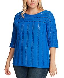 Plus Size Cotton Open-Stitch Boatneck Sweater