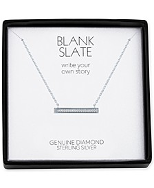 "Diamond Accent Horizontal Bar 18"" Pendant Necklace in Sterling Silver"