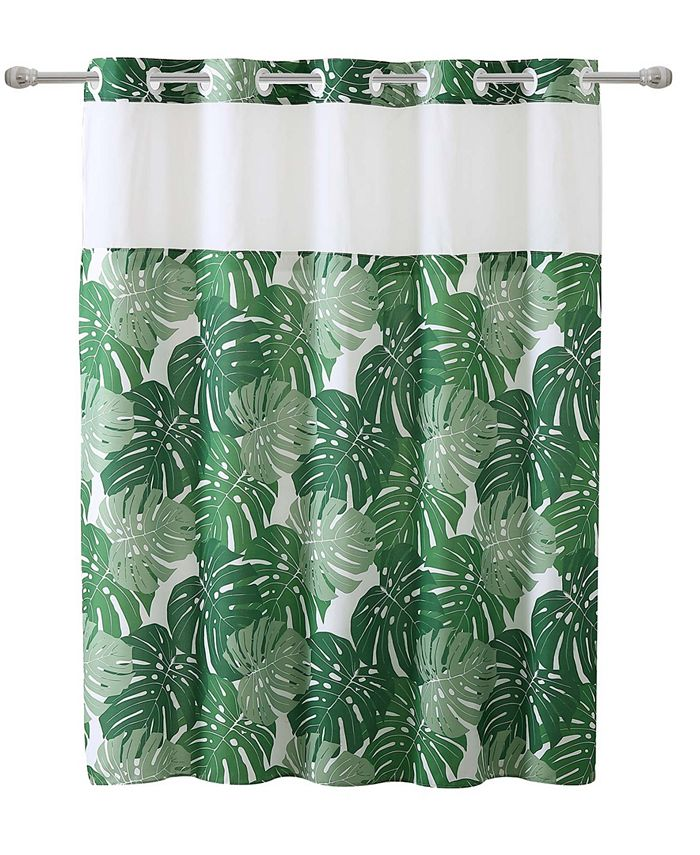 Hookless - Palm Leaf Shower Curtain with Peva Liner