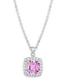 Pink Cubic Zirconia Halo Cushion Pendant Necklace in Fine Silver Plate