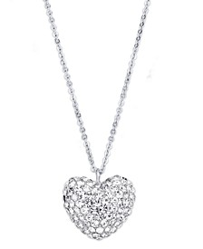 Pink Cubic Zirconia Puffed Heart Pendant in Fine Silver Plate