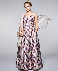 Juniors' Printed Brocade Gown