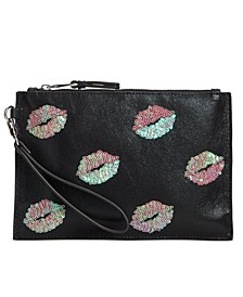 INC Molyy Pink Sequin Lips Pouch Wristlet, Created for Macy's
