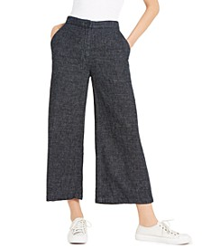 Cropped Organic-Cotton Wide-Leg Pants