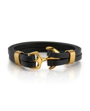 Anchor Closure Black Woven Cord Bracelet
