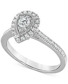 Diamond Teardrop Halo Engagement Ring (1/2 ct. t.w.) in 14k White gold