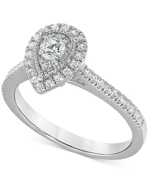 Macy's Diamond Teardrop Halo Engagement Ring (1/2 ct. t.w.) in 14k White gold