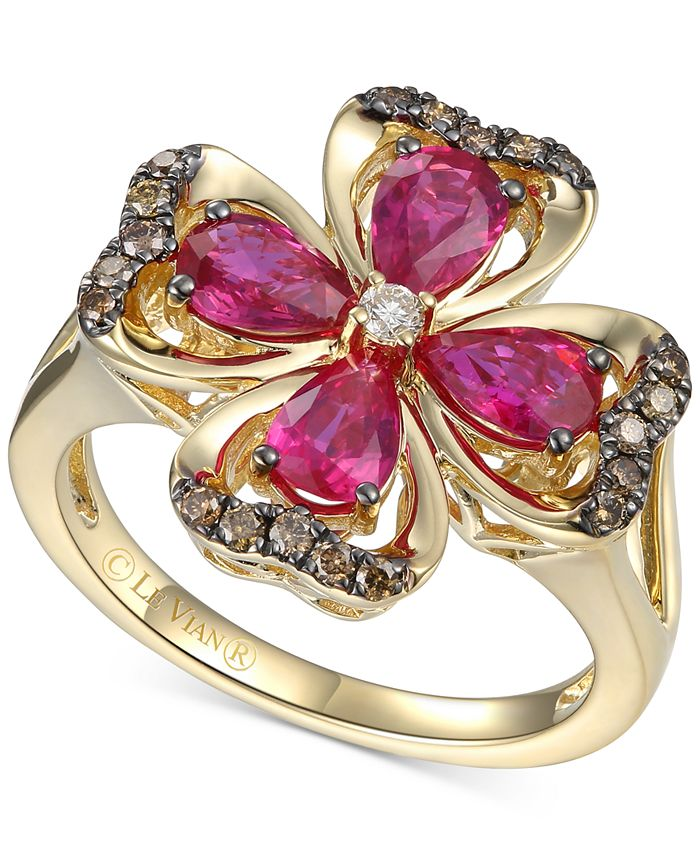 Le Vian - Certified Passion Ruby (1-1/2 ct. t.w.) & Diamond (1/5 ct. t.w.) Flower Statement Ring in 14k Gold