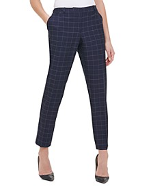Windowpane-Print Pants