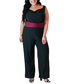 Plus Size Belted Cowlneck Jumpsuit