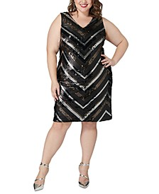 Plus Size Sequin Chevron Sheath Dress