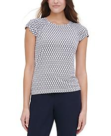 Printed Ruched-Sleeve Top