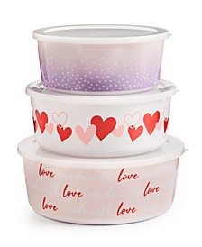 Valentine's Day Melamine Nesting Bowls with Lids, Set of 3, Created For Macy's