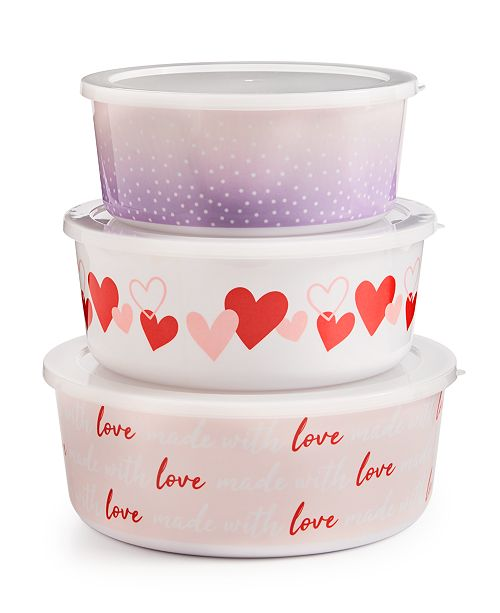 Martha Stewart Collection Valentine's Day Melamine Nesting Bowls with Lids, Set of 3, Created For Macy's