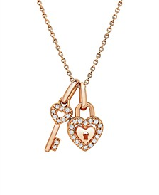 Diamond (1/20 ct. t.w.) Heart and Key Pendant in 10k Rose Gold