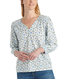 Lucky Brand Printed Smocked Peasant Top