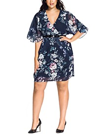 Trendy Plus Size Mysterious Floral-Print Belted Dress