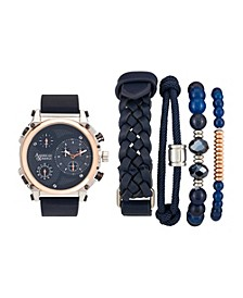 Men's Navy/Rose Gold Analog Quartz Watch And Stackable Gift Set