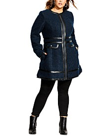 Trendy Plus Size Faux-Leather-Trim Coat