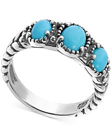 Turquoise Three Stone Statement Ring in Sterling Silver