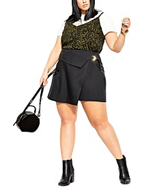 Trendy Plus Size D-Ring Skort
