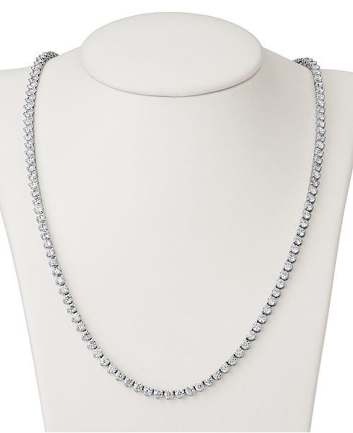 """Macy's Certified Diamond All-Around 17"""" Tennis Necklace (11 ct. t.w.) in 14k White Gold"""