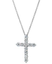 """Certified Diamond Cross Pendant Necklace (1 ct. t.w.) in 14k White Gold, 16"""" + 2"""" extender"""