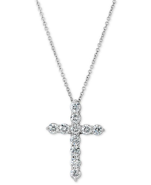 "Macy's Certified Diamond Cross Pendant Necklace (1 ct. t.w.) in 14k White Gold, 16"" + 2"" extender"