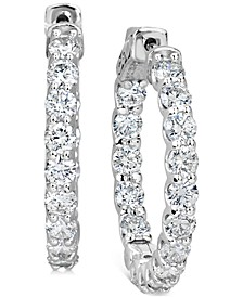 """Certified Diamond Small Graduated In & Out Hoop Earrings (3-1/5 ct. t.w.) in 14k White Gold, 1"""""""