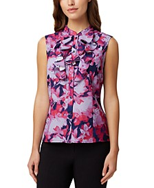 Printed Ruffled Sleeveless Blouse