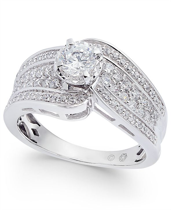 Macy's Diamond Wide Swirl Engagement Ring (1 ct. t.w.) in 14k White Gold