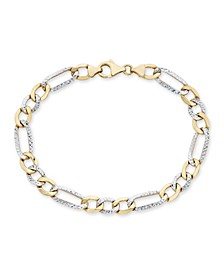 "Men's Diamond Cut 3+1 Figaro Link 8.5"" Bracelet in 10K Yellow and White Gold"