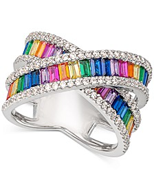 Cubic Zirconia Rainbow Crisscross Statement Ring in Sterling Silver