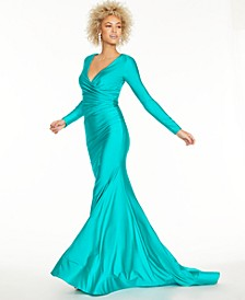 Juniors' Stretch Satin Open-Back Gown