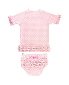 Baby Girls Ruffled Swimsuit Swim Hat Set, 2 Piece