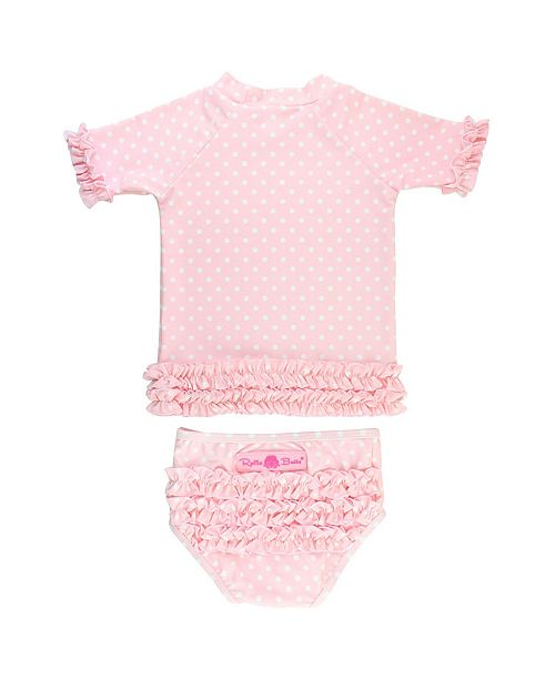 RuffleButts Baby Girls Ruffled Swimsuit Swim Hat Set, 2 Piece
